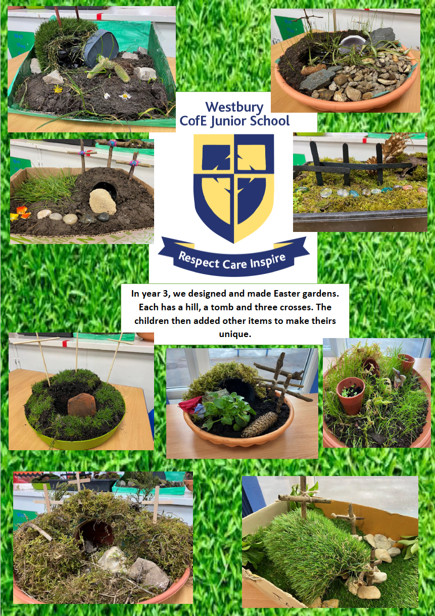 Easter gardens Year 3. This is what went to the local church for their newsletter