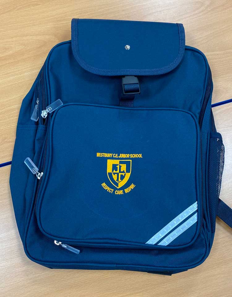 Our School Uniform. Picture of schoolbag with school emblem