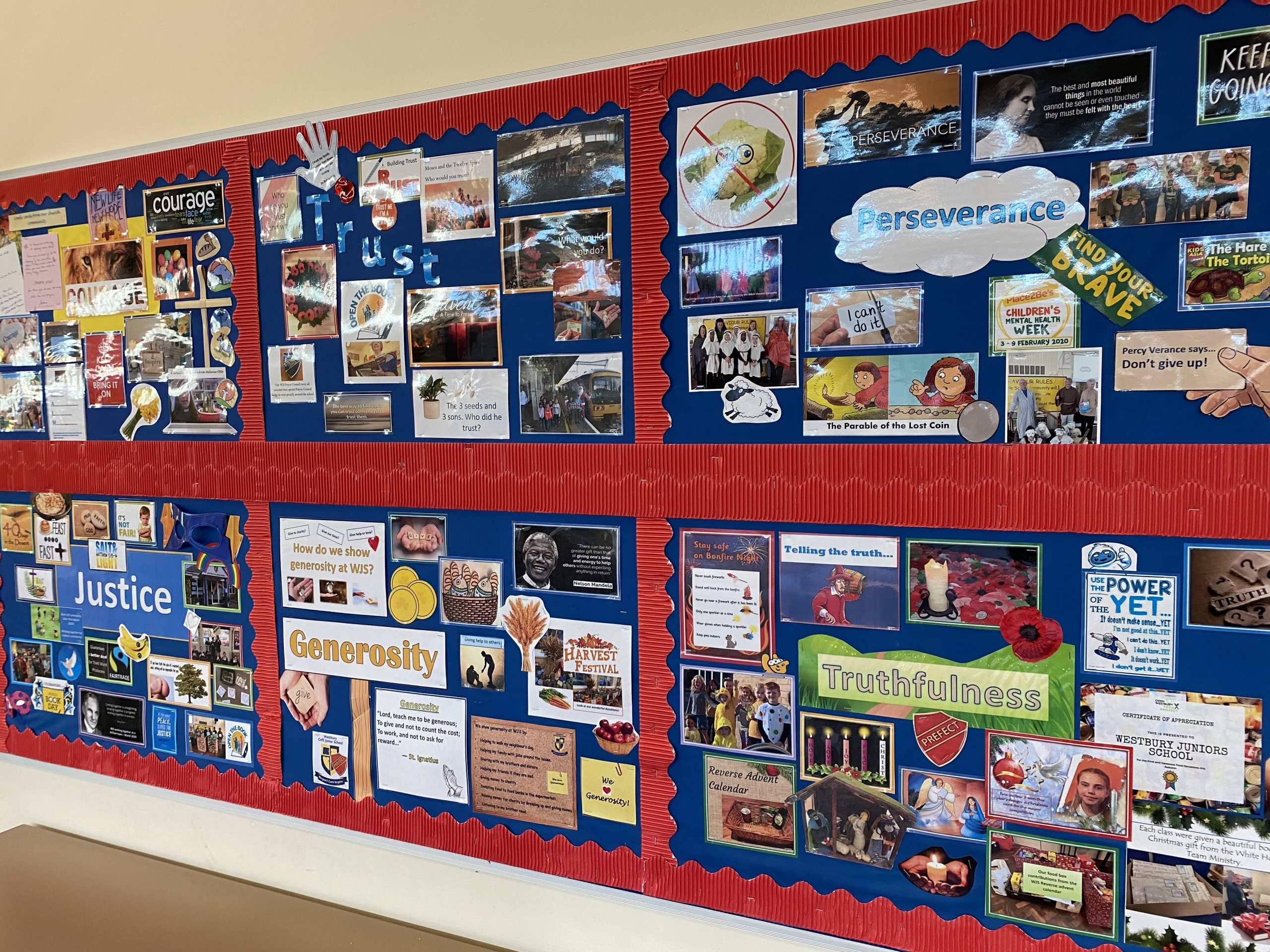 our church school worship board in the hall